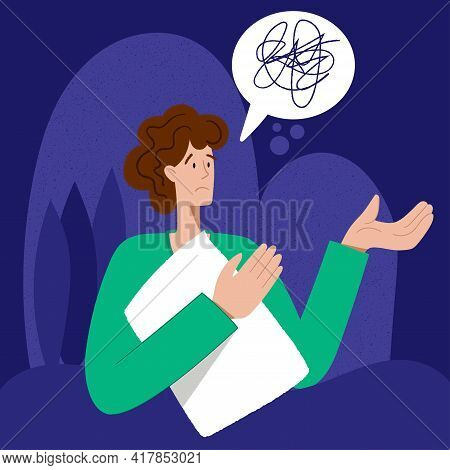 Insomnia. A Man Cannot Sleep.. Male Character Suffers From Insomnia. Sleep Disorder, Sleeplessness C