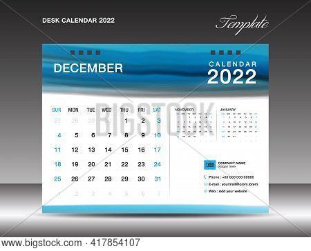 Desk Calender 2022, December Month Template, Calendar 2022 Template, Planner, Simple, Wall Calendar