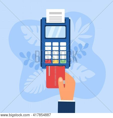Credit Card Payment Concept Vector Illustration. Hand Insert Credit Card On Pos Machine. Payment Ter