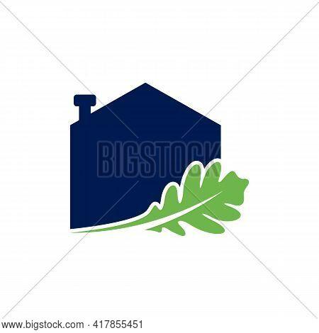 House Oak Leaf Logo Design Vector Illustration, Creative Oak Tree Logo Design Concept Template, Symb
