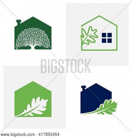 Set Of House Oak Leaf Logo Design Vector Illustration, Creative Oak Tree Logo Design Concept Templat