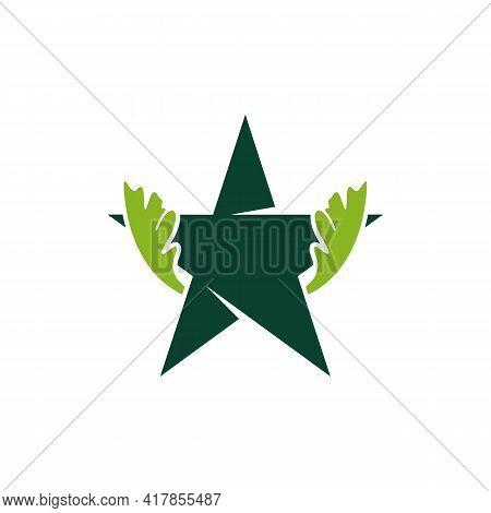 Star Oak Leaf Logo Design Vector Illustration, Creative Oak Tree Logo Design Concept Template, Symbo