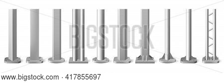 Realistic Metal Poles. Silver Metal Vertical Pillars, Glossy Aluminum Construction Pole. Metallic Be