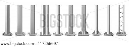 Realistic Metal Poles. Silver Metal Vertical Pillars, Glossy Aluminum Construction Pole. Metallic Be