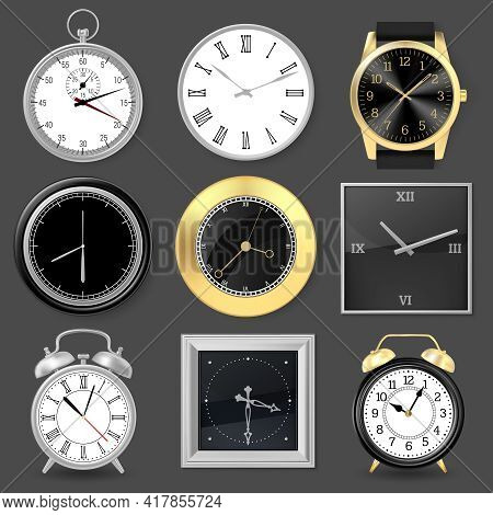 Realistic Clocks. Wristwatch, Alarm Clock And Silver Metal Wall Clocks, 3d Clock Face Vector Illustr