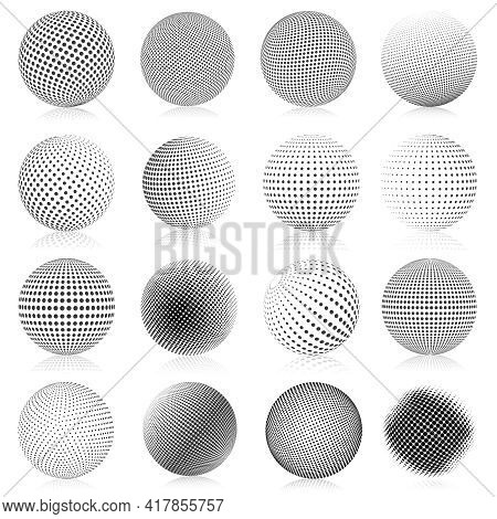 Halftone Sphere. Abstract Gradient Dotted Texture Globe Elements, Round Halftone Vector Symbols Illu