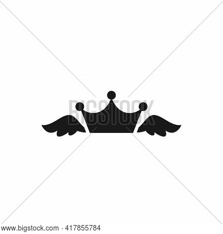 Princess Crown With Wings. Pink Crown Icon Isolated On White. Royal, Luxury, Vip, First Class Sign.