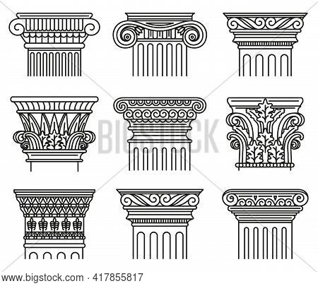 Ancient Greek Capitals. Architectural Orders, Ionic And Doric Antique Classical Capitals Isolated Ve