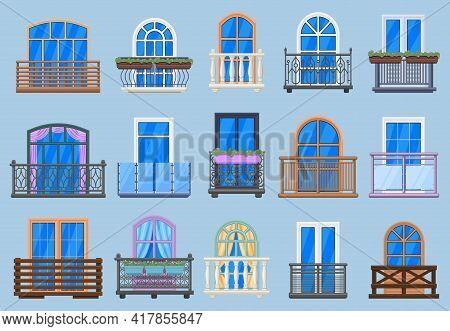 House Facade Balconies. Balcony, Terrace Fencing, House Architecture Facade Balconies Isolated Vecto