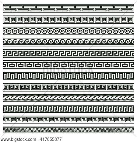 Ancient Greek Borders. Greek Roman Meander And Wave Decorative Seamless Patterns Vector Illustration
