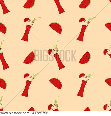 Illustration With Watermelon Cocktail And Watermelon Slices. Seamless Vector Background. Wallpaper.