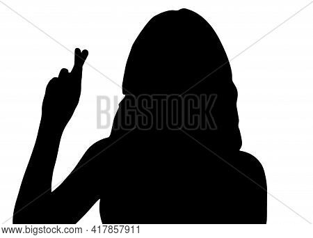 Female Shadow Crossed Index And Middle Fingers Call For Good Luck, A Sign Of The End Of The Action,