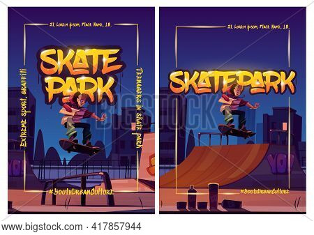 Skate Park Posters With Boy Riding On Skateboard On Rollerdrome At Night. Vector Flyers With Cartoon