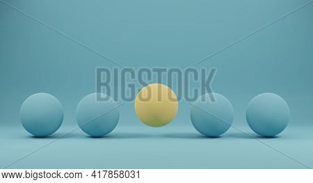 Yellow Spheres Outstanding Among Blue Circle On Blue Background. Concept Of Outstanding And Differen