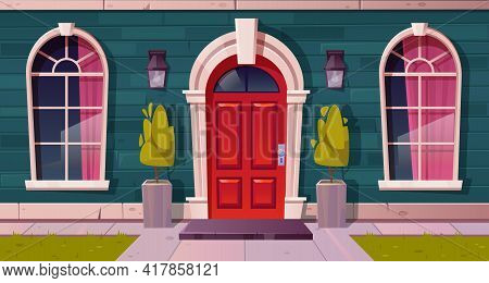 Luxury Cottage House Facade, Home Building Exterior Of Green Brick, Red Wooden Arched Door And Curta