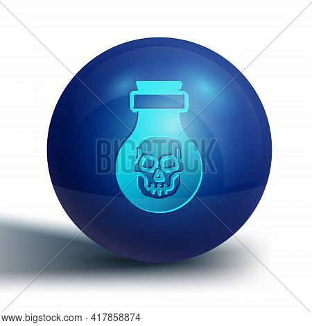 Blue Poison In Bottle Icon Isolated On White Background. Bottle Of Poison Or Poisonous Chemical Toxi