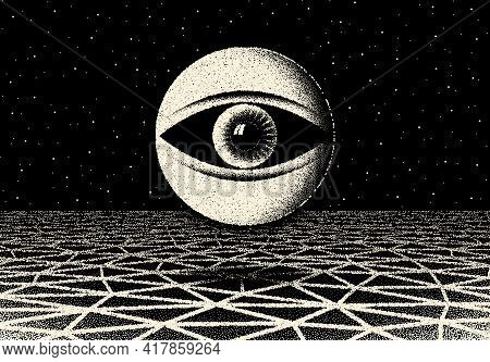 Retro Dotwork Landscape With 60s Or 80s Styled Alien Robotic Space Eye Over The Desert Planet On The