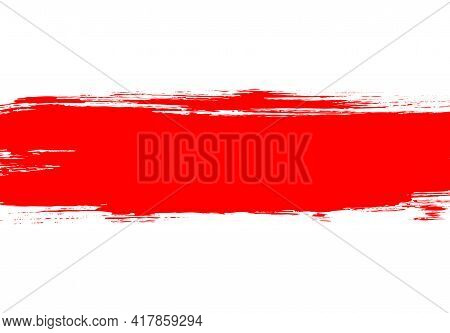 Belarus Opposition Flag During Peaceful Street Protest Against Police Violence And Fabricated Fake E