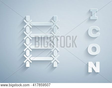 Paper Cut Fire Escape Icon Isolated On Grey Background. Pompier Ladder. Fireman Scaling Ladder With