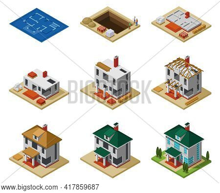 House Construction Phases From Drawing To Finished Building Isometric Icons Set Isolated Vector Illu