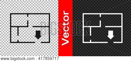 Black Evacuation Plan Icon Isolated On Transparent Background. Fire Escape Plan. Vector
