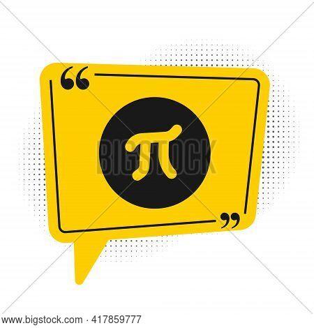 Black Pi Symbol Icon Isolated On White Background. Yellow Speech Bubble Symbol. Vector