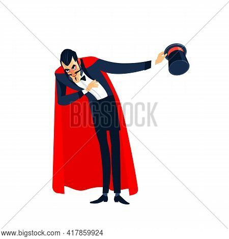 Circus Entertainer, Performer Character In Top Hat And Red Cloak Costume. Cartoon Character Vector M