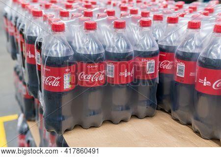 Tyumen, Russia-april 21, 2021: Plastic Bottles Of Coca Cola On Display On Coca Cola. Coca Cola Compa
