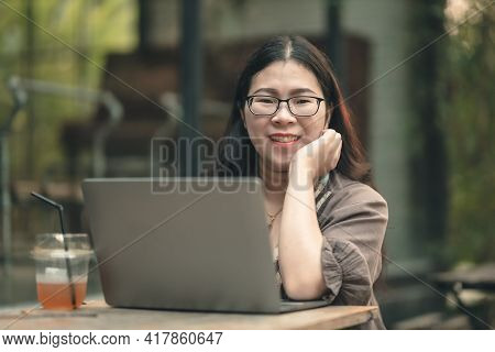 Happy Of Asian Freelance People Business Female Casual Working With Laptop Computer With Coffee Cup