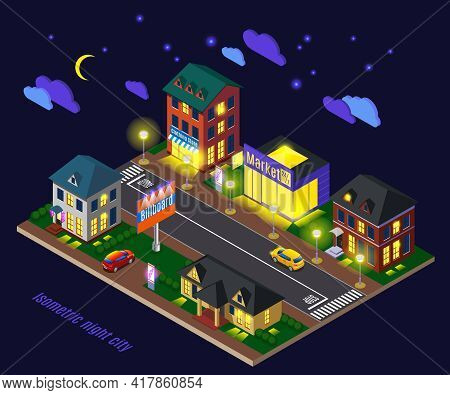 Night Suburb With Luminous Houses Shops And Road Infrastructure Isometric Composition On Dark Backgr