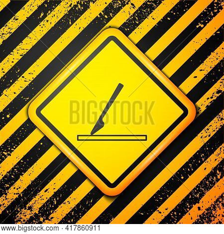 Black Medical Surgery Scalpel Tool Icon Isolated On Yellow Background. Medical Instrument. Warning S