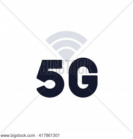 5g Network Connection Flat Icon, 5g Signal Indicator Vector Sign, Colorful Pictogram Isolated On Whi