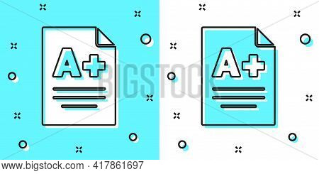 Black Line Exam Sheet With A Plus Grade Icon Isolated On Green And White Background. Test Paper, Exa