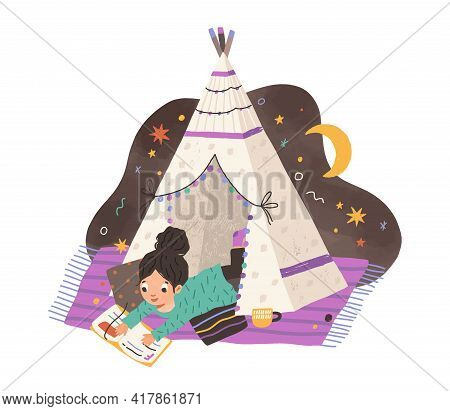 Child Reading Book In Homemade Teepee. Girl With Storybook In Home Tent Or Hut. Kid Resting On Blank