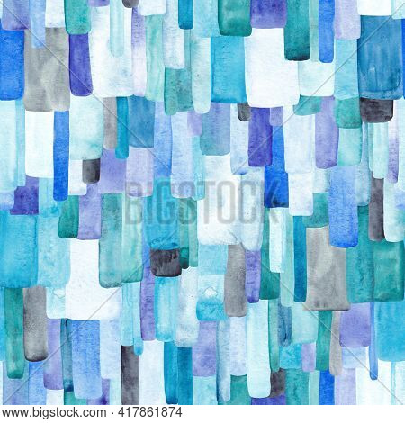 Seamless pattern of blue, turquoise and purple spots. Perfect for fabric, textile, wallpaper. Watercolor illustration. Blue background.