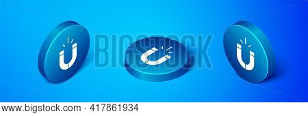Isometric Magnet Icon Isolated On Blue Background. Horseshoe Magnet, Magnetism, Magnetize, Attractio