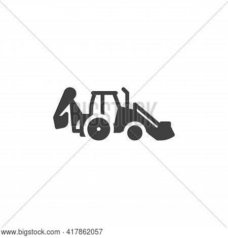 Excavator Tractor Vector Icon. Filled Flat Sign For Mobile Concept And Web Design. Excavator Machine