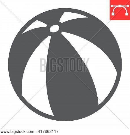 Beach Ball Glyph Icon, Toy And Tourism, Beachball Vector Icon, Vector Graphics, Editable Stroke Soli