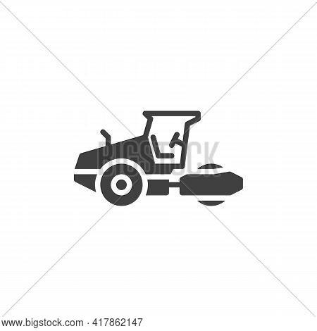 Road Roller Vector Icon. Filled Flat Sign For Mobile Concept And Web Design. Asphalt Roller Machine