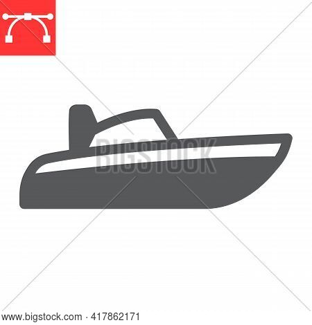 Speedboat Glyph Icon, Motor Boat And Beach, Motorboat Vector Icon, Vector Graphics, Editable Stroke