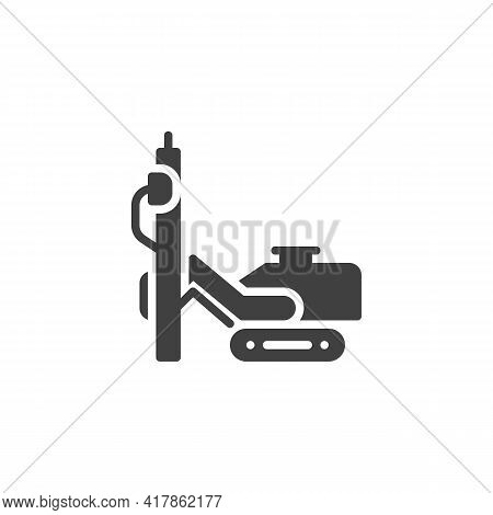 Hydraulic Piling Machine Vector Icon. Filled Flat Sign For Mobile Concept And Web Design. Rig Machin