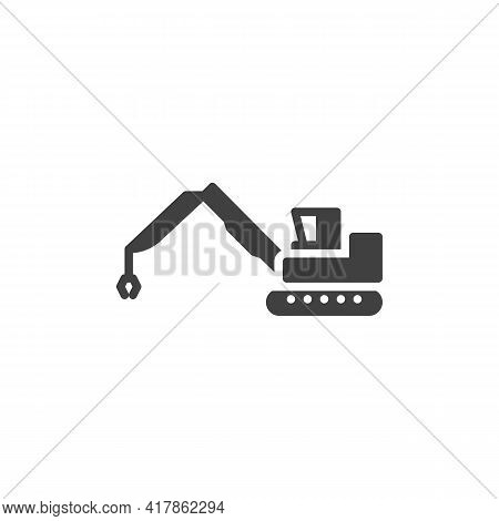 Wrecking Ball Crane Vector Icon. Filled Flat Sign For Mobile Concept And Web Design. Demolition Cran