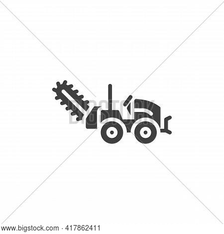 Cold Milling Machine Vector Icon. Filled Flat Sign For Mobile Concept And Web Design. Milling Truck