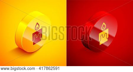 Isometric Burning Candle Icon Isolated On Orange And Red Background. Cylindrical Candle Stick With B