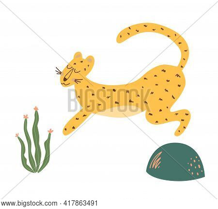 Cute Cheetah Print. Running Cheetah Isolated Animal. Wild Cat Illustration. Graphic Safari Big Jungl