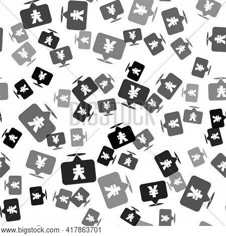 Black Chinese Yuan Currency Symbol Icon Isolated Seamless Pattern On White Background. Coin Money. B
