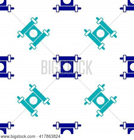 Blue Decree, Paper, Parchment, Scroll Icon Icon Isolated Seamless Pattern On White Background. Chine
