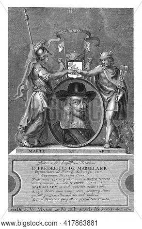 Portrait bust of Frederik de Marselaer, mayor of Brussels. The Marselaer is wearing a hat and a sash. At the side of the oval, Mercury, with a rooster, and Minerva, with an owl next to him