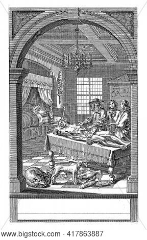 Doctor Reinier de Graaf gives two students an anatomy lesson. A man with an open abdomen is lying on a table in front of him.