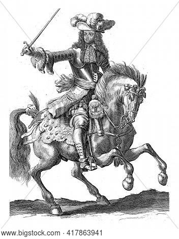 Portrait of Charles V Leopold, Duke of Lorraine, on horseback with a sword in his hand. At the bottom in the margin are name and function in Latin.